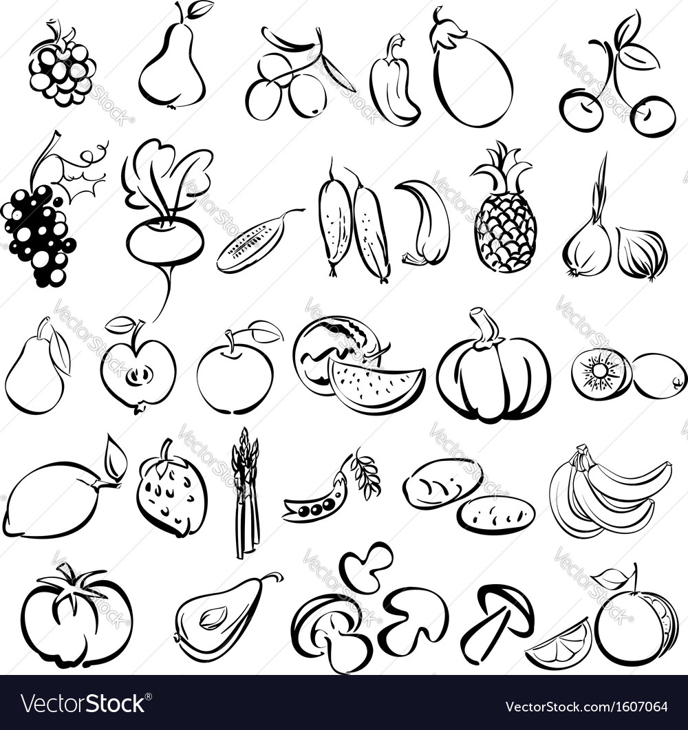 Fruits and vegetables icon set sketch vector | Price: 1 Credit (USD $1)