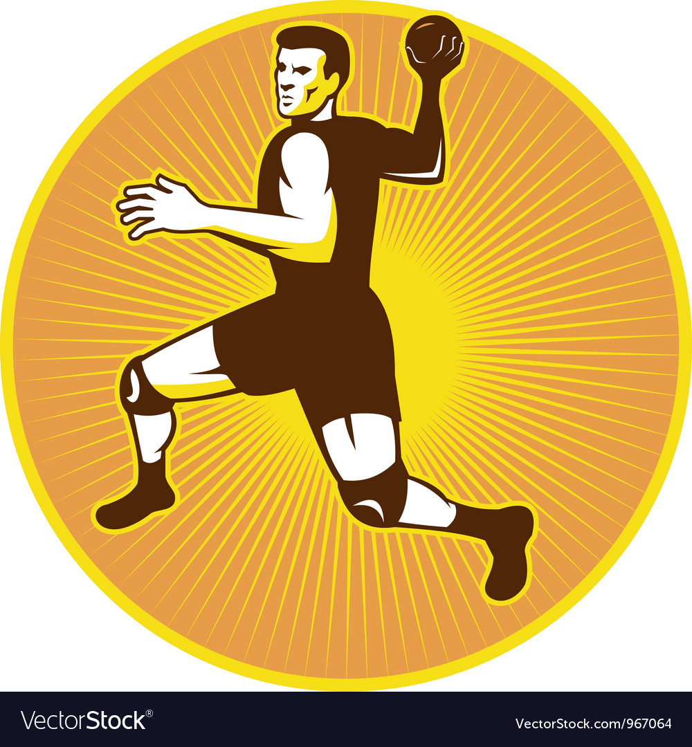 Handball player jumping throwing ball scoring vector | Price: 1 Credit (USD $1)
