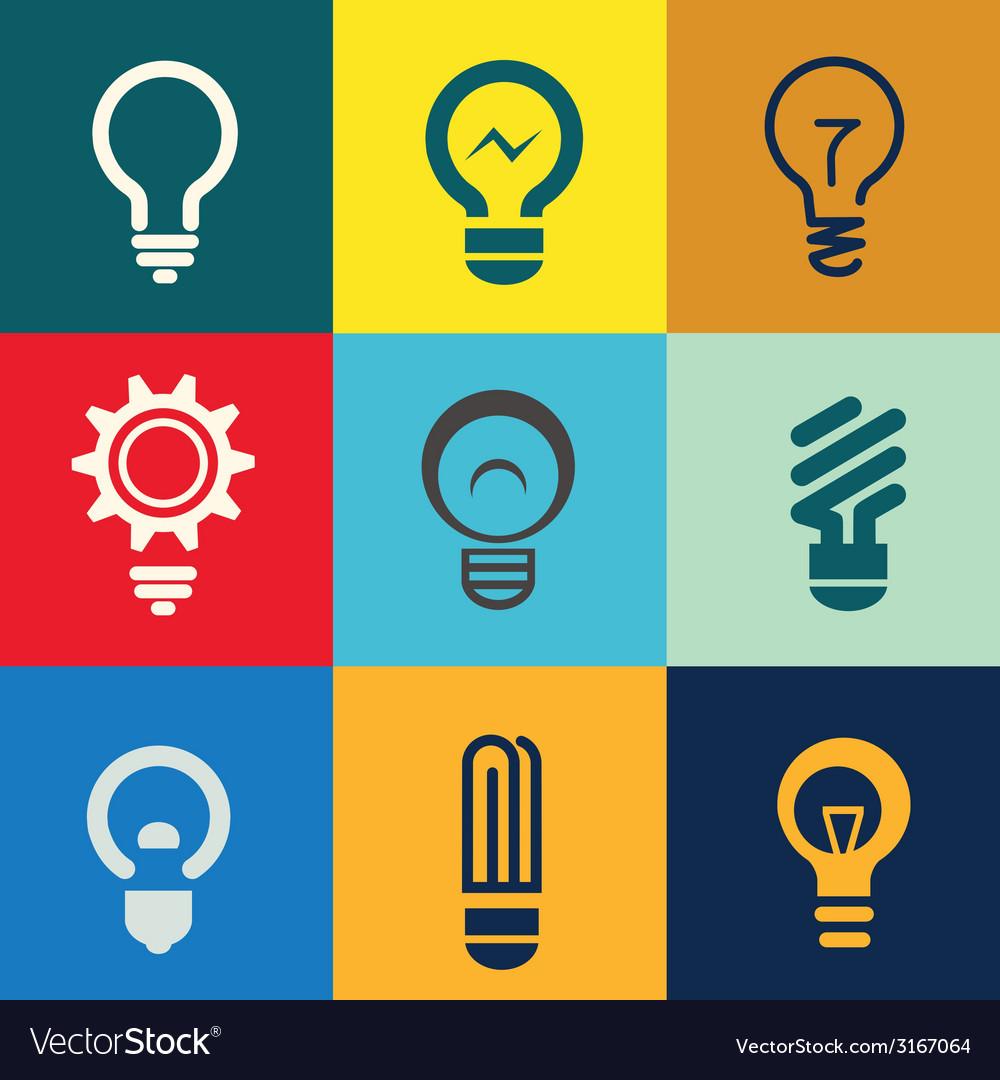 Light bulb icons set vector | Price: 1 Credit (USD $1)