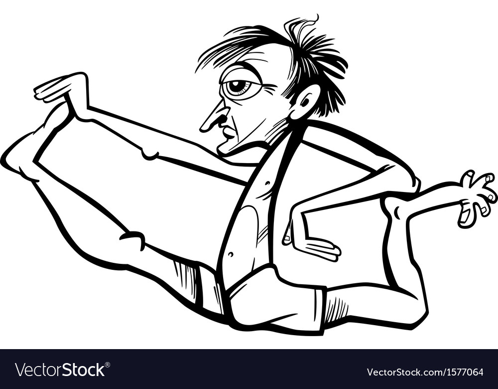Man in yoga position cartoon vector | Price: 1 Credit (USD $1)