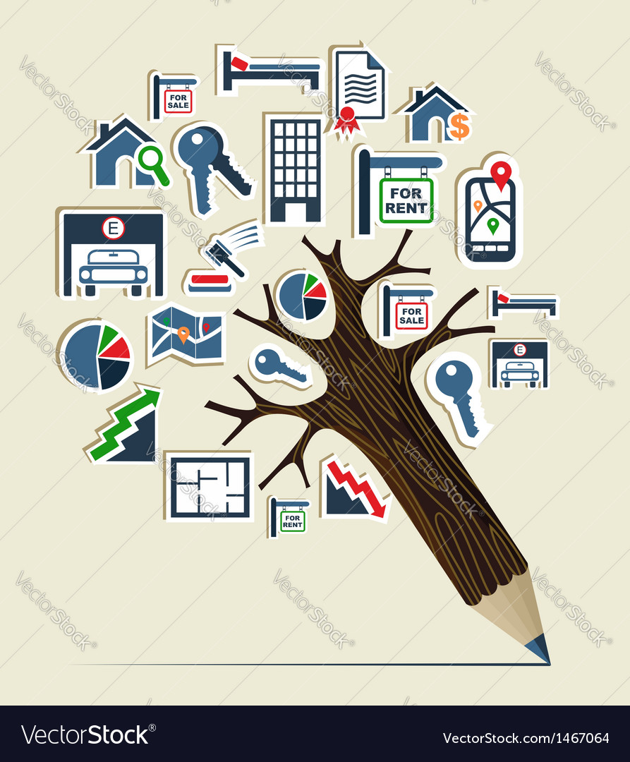 Real estate icon set pencil tree vector | Price: 1 Credit (USD $1)
