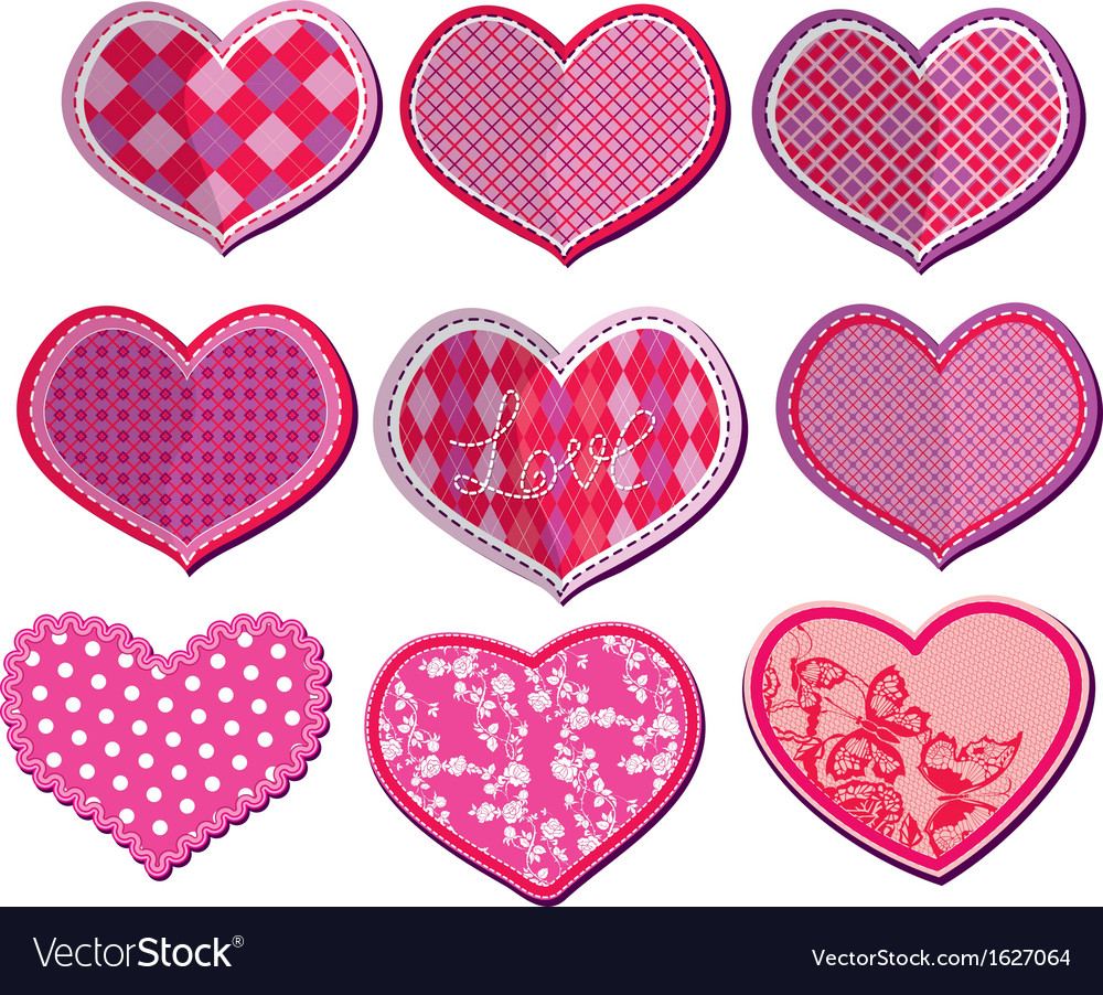 Scrapbook set of hearts in stitched textile style vector | Price: 1 Credit (USD $1)
