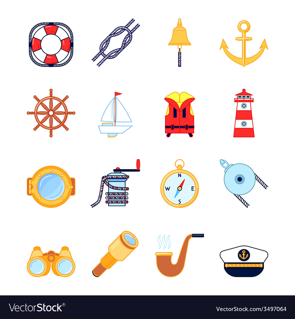 Set of colorful yachting icons sailing symbols vector | Price: 1 Credit (USD $1)