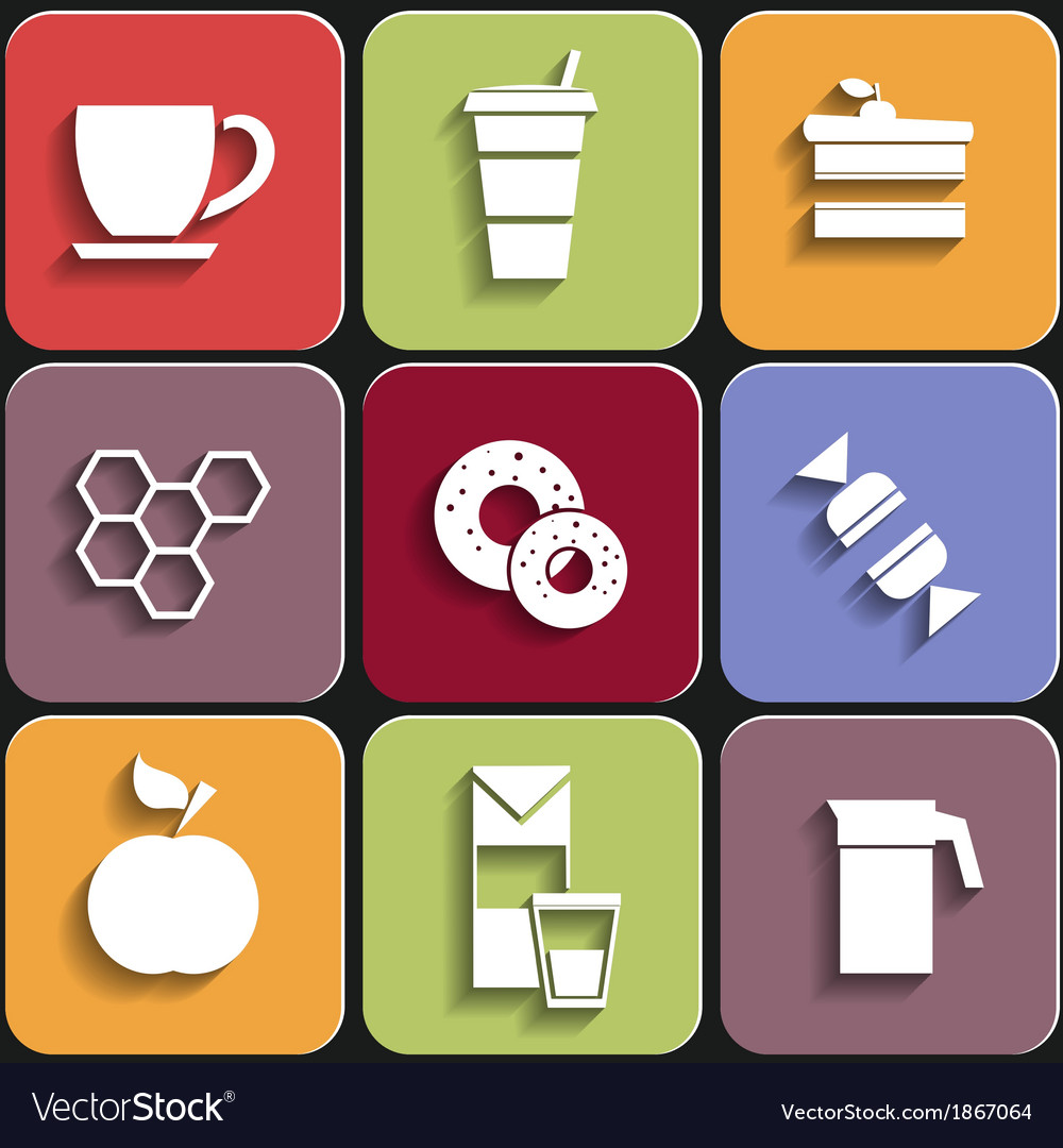 Set of flat food icons vector | Price: 1 Credit (USD $1)