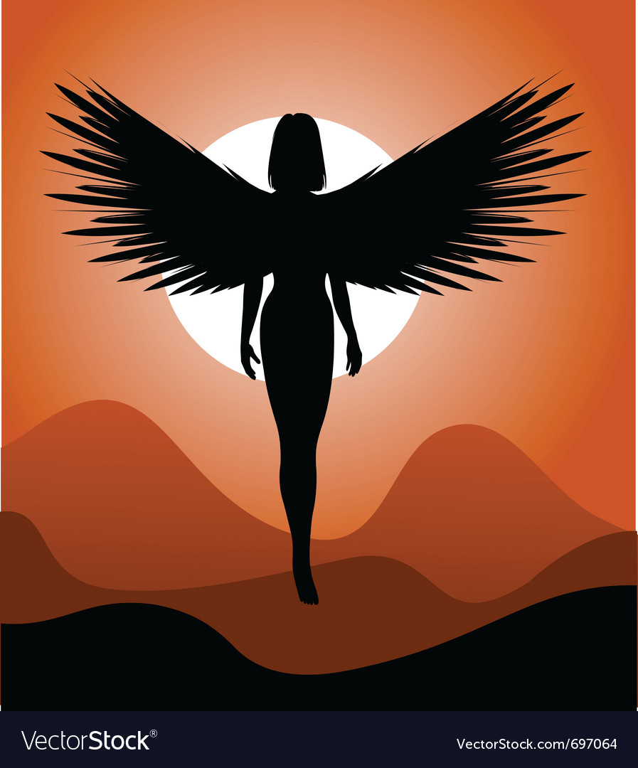 Silhouette of woman-angel vector | Price: 1 Credit (USD $1)