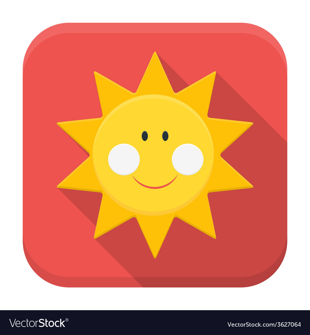Smiling sun app icon with long shadow vector | Price: 1 Credit (USD $1)