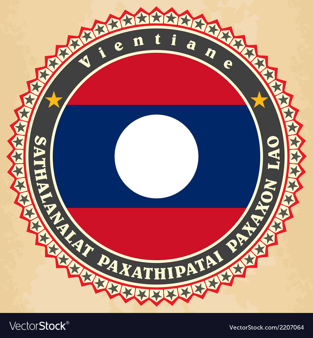 Vintage label cards of laos flag vector | Price: 1 Credit (USD $1)