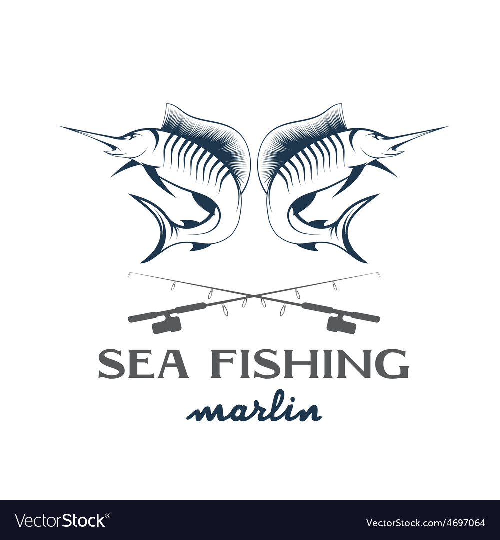 Vintage sea fishing with marlin vector | Price: 1 Credit (USD $1)