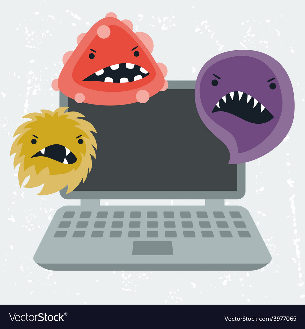 Abstract laptop infected with viruses vector | Price: 1 Credit (USD $1)