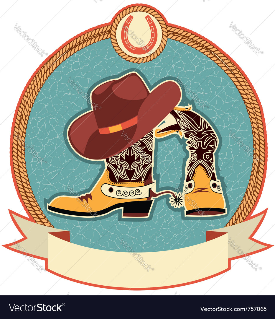 Cowboy boots and hat label vector | Price: 1 Credit (USD $1)