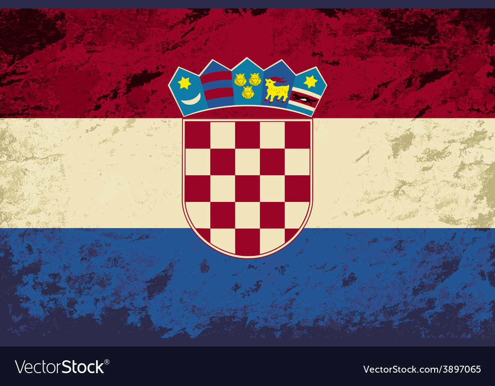 Croatian flag grunge background vector | Price: 1 Credit (USD $1)