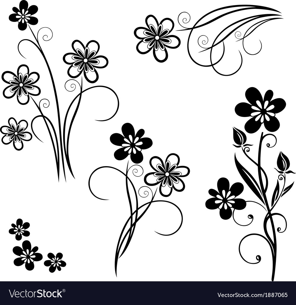 Flowers meadow set vector