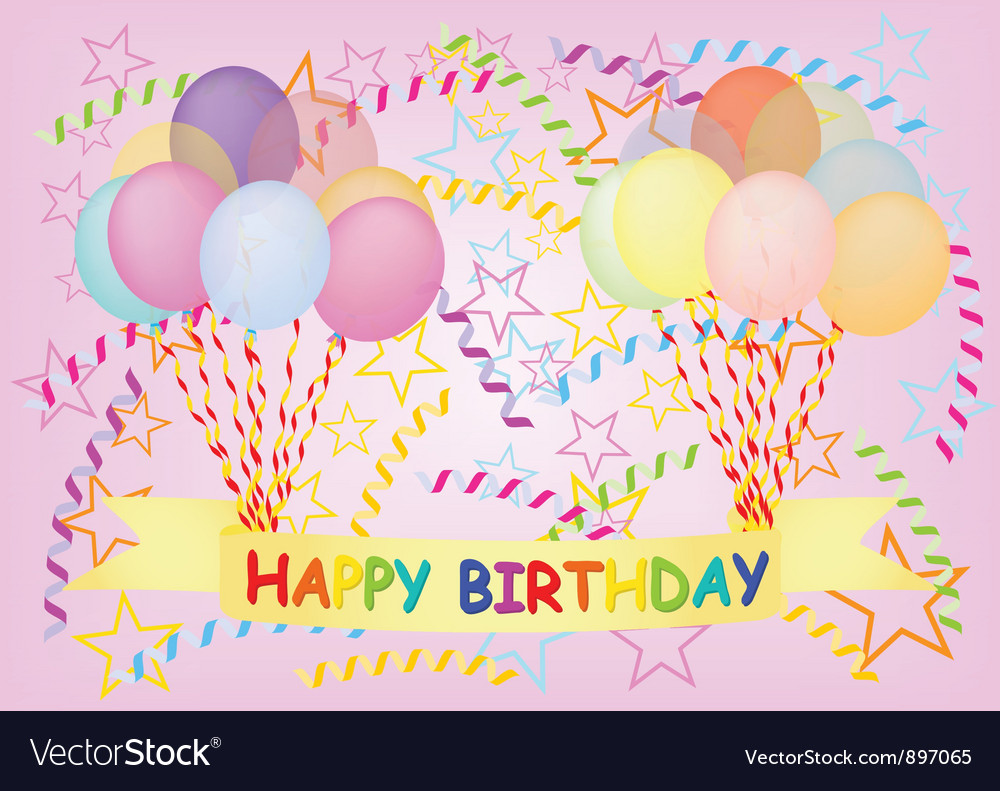 Happy birthday postcard vector | Price: 1 Credit (USD $1)
