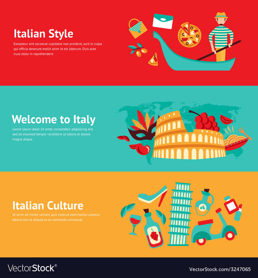 Italy banner set vector | Price: 1 Credit (USD $1)