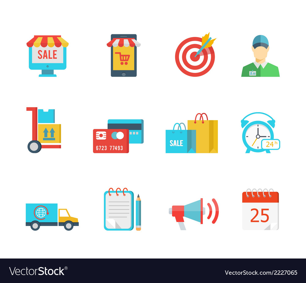 Set of flat purchase and delivery icons vector | Price: 1 Credit (USD $1)