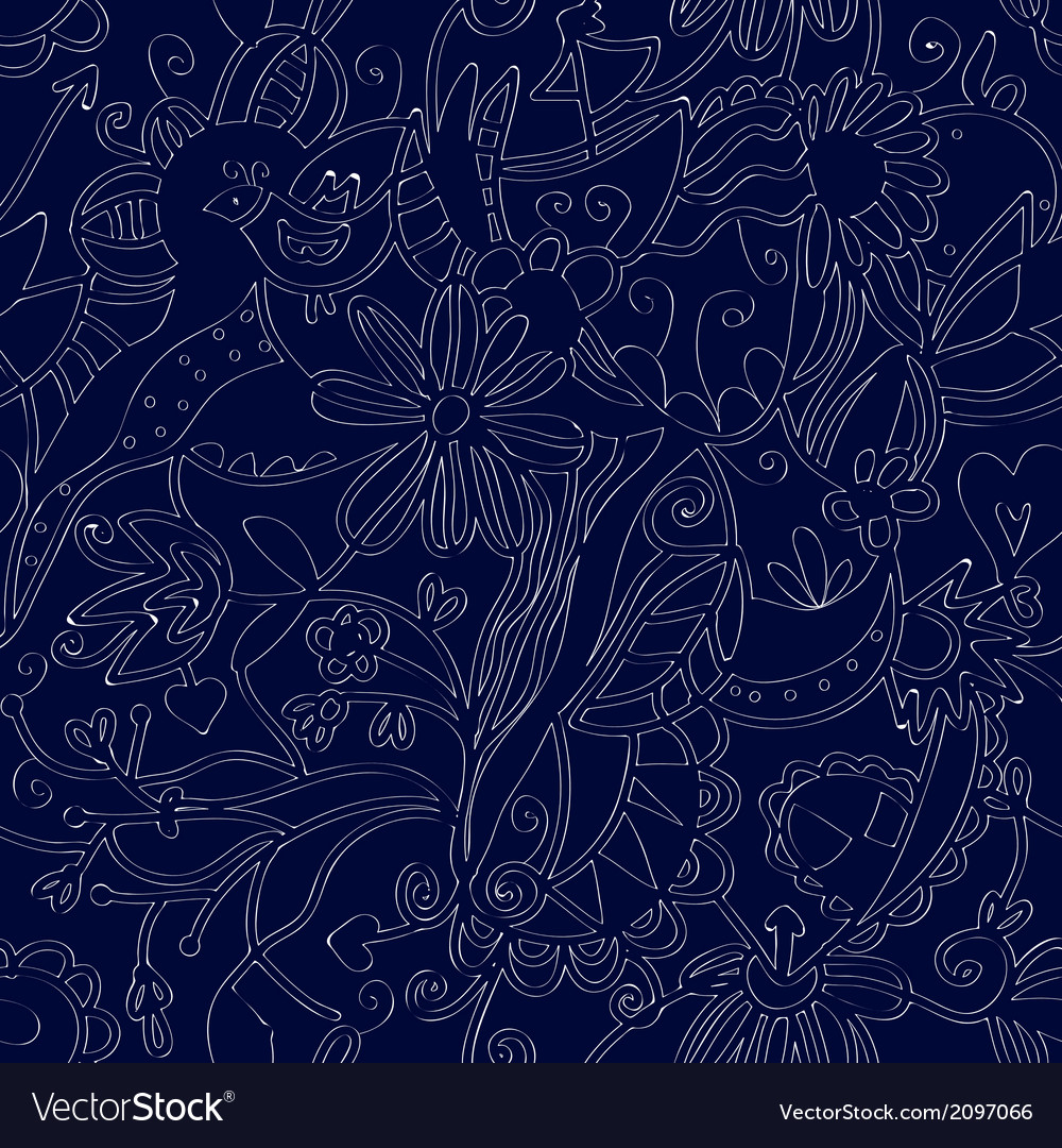 Floral seamless pattern linework ethnic vector | Price: 1 Credit (USD $1)