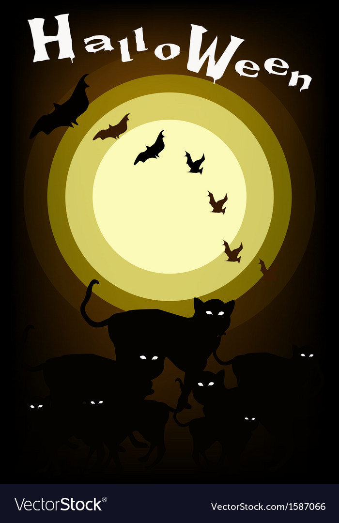 Gang of halloween cats on full moon background vector | Price: 1 Credit (USD $1)