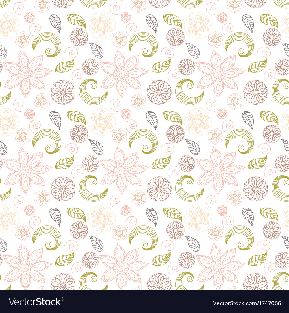 Handdrawn seamless floral pattern vector | Price: 1 Credit (USD $1)