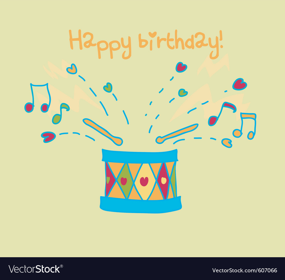 Happy birthday cartoon drum card vector | Price: 1 Credit (USD $1)