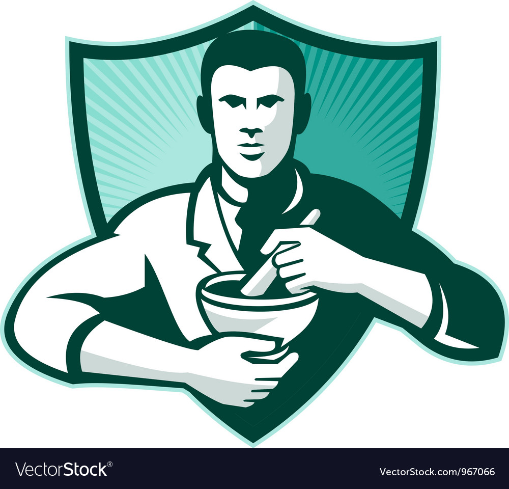 Pharmacist chemist mixing mortar pestle shield vector | Price: 1 Credit (USD $1)