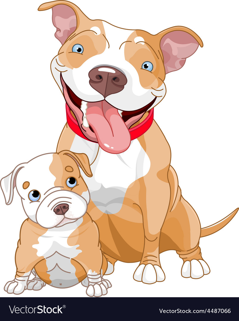 Pit-bull mother and cub vector | Price: 3 Credit (USD $3)