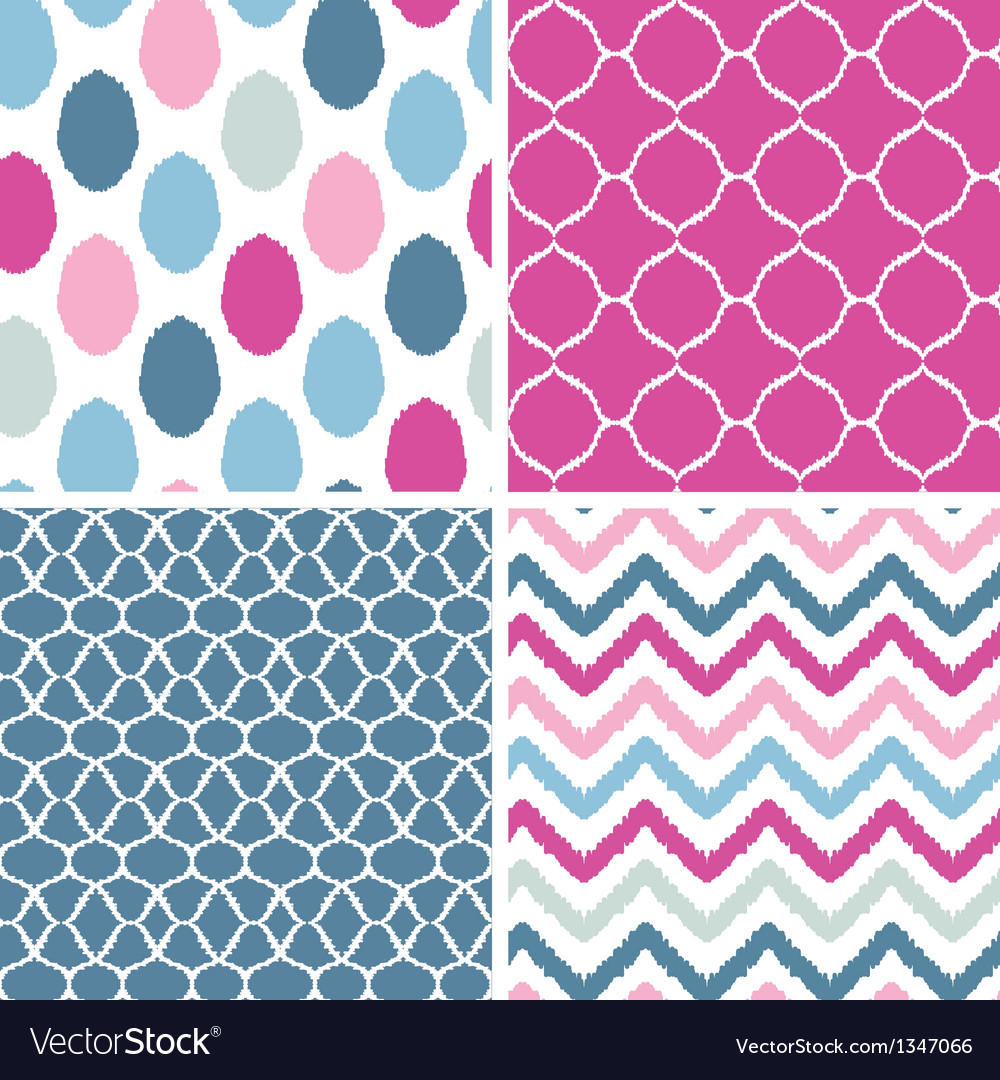 Set of blue and pink ikat geometric seamless vector | Price: 1 Credit (USD $1)