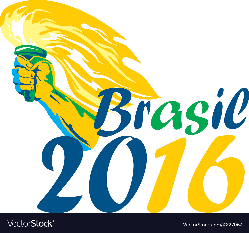 Brasil 2016 summer games athlete hand flaming vector | Price: 1 Credit (USD $1)