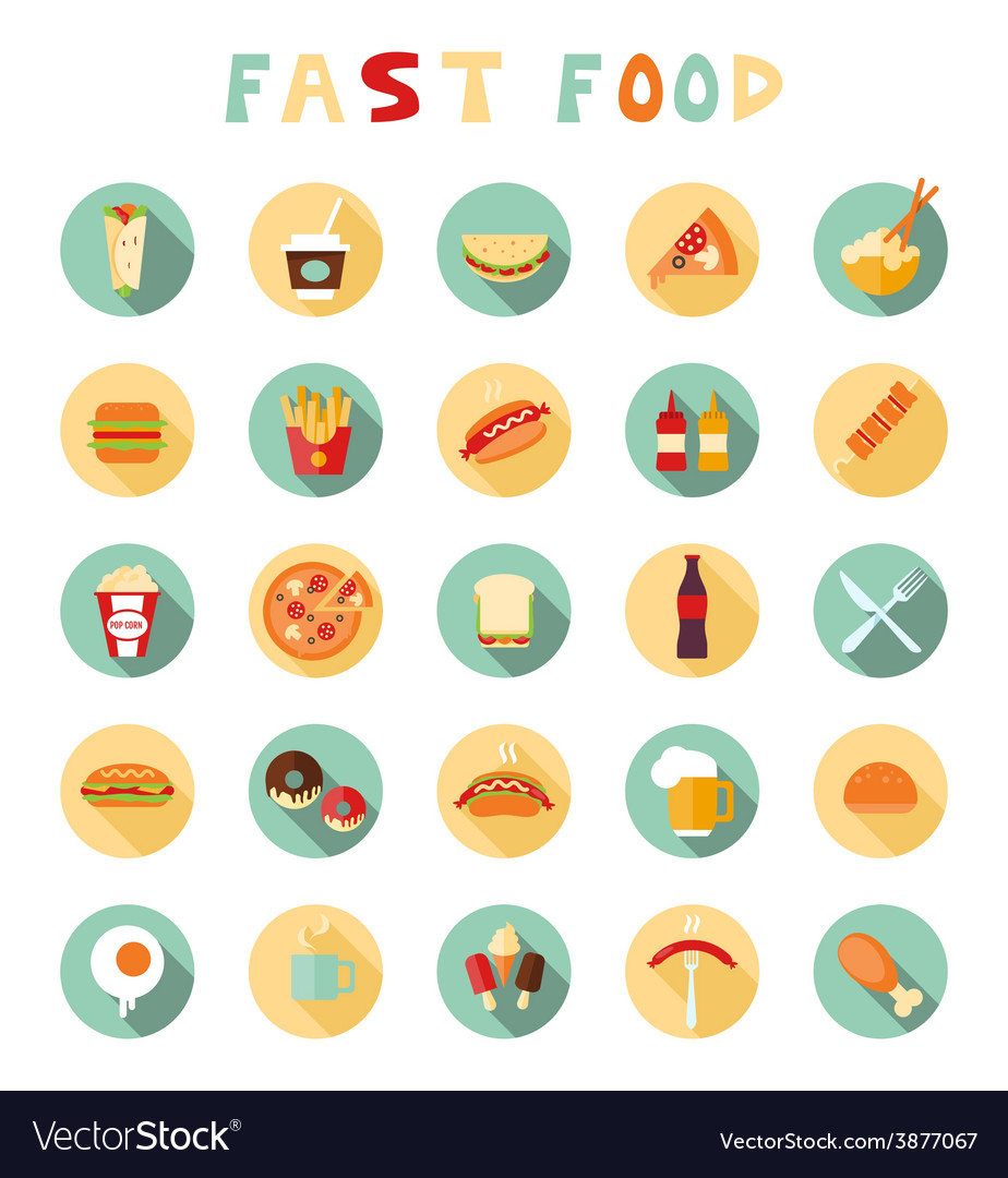 Fast food colorful flat design icons set vector | Price: 1 Credit (USD $1)
