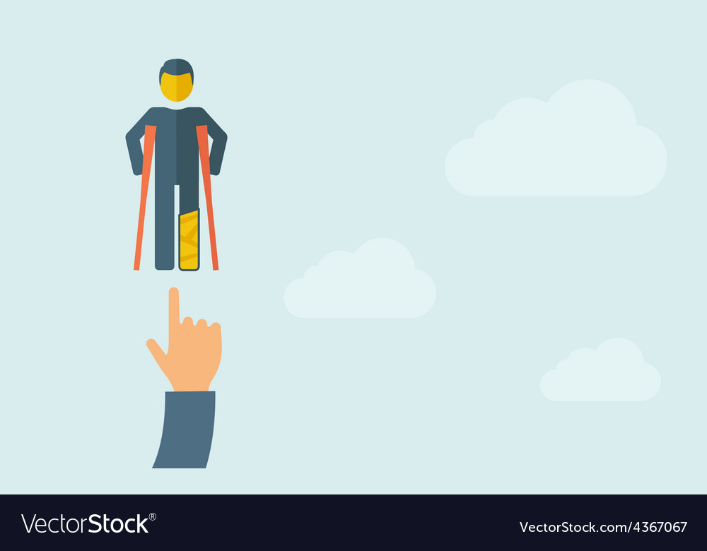 Hand pointing to a man with crutches vector | Price: 1 Credit (USD $1)
