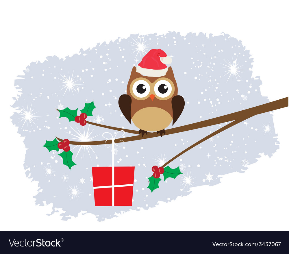 Owl santa hat card snow vector | Price: 1 Credit (USD $1)