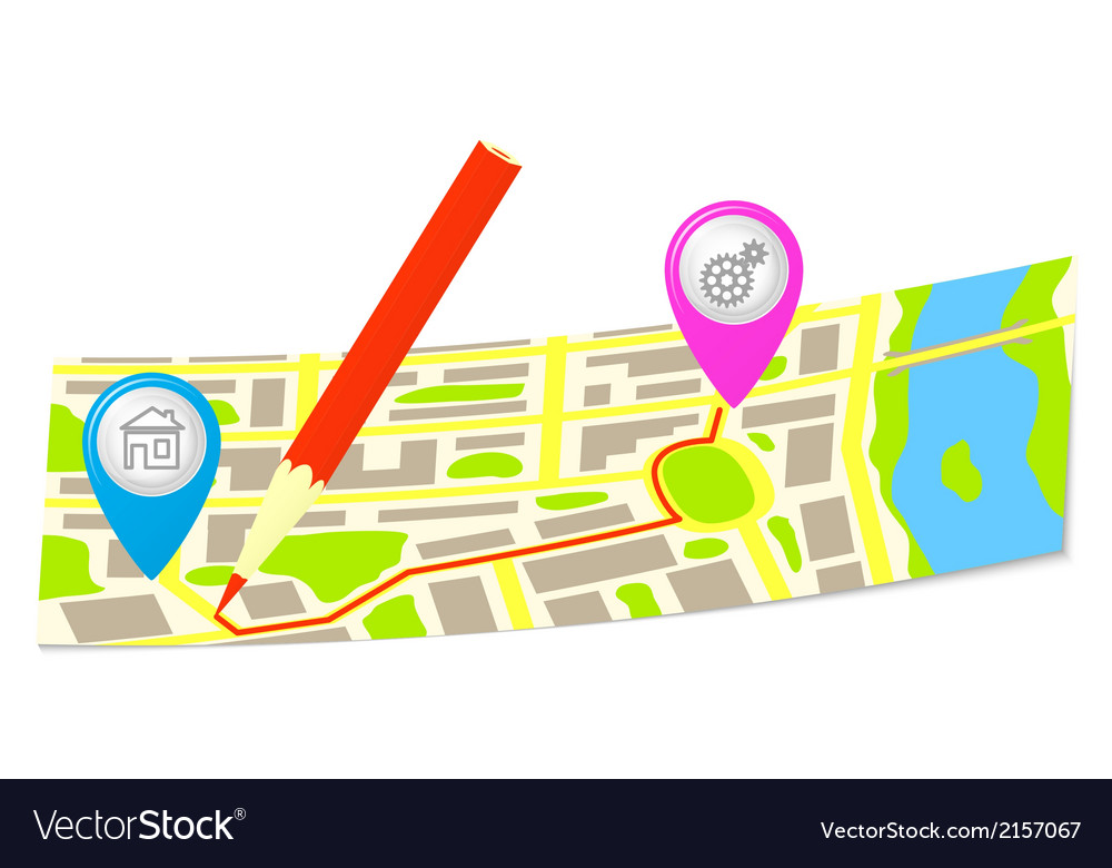 The route and pencil on the map of the city vector   Price: 1 Credit (USD $1)