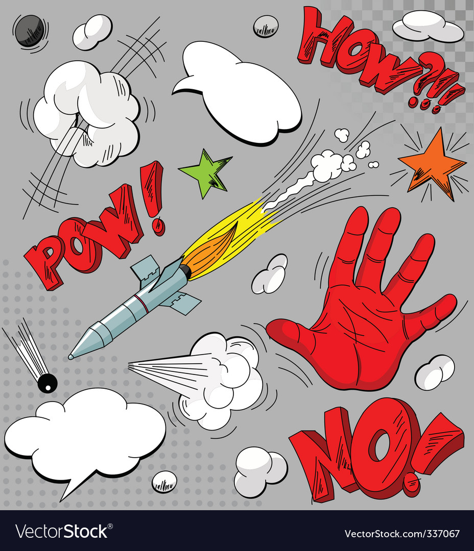 Set of comic book explosions vector   Price: 1 Credit (USD $1)
