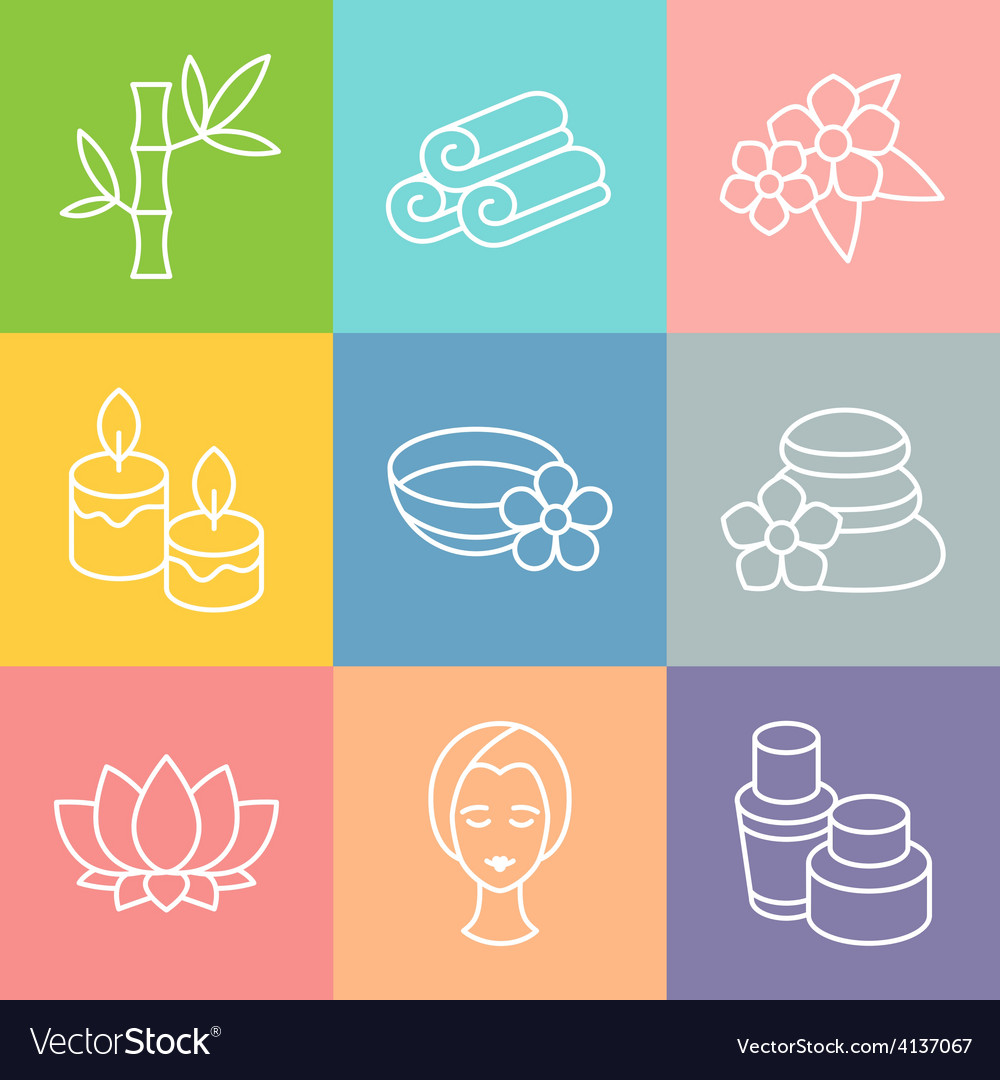 Set of spa and recreation icons in linear style vector | Price: 1 Credit (USD $1)