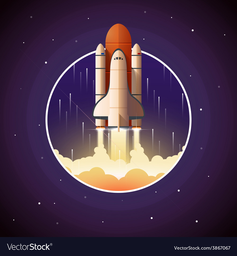 Space shuttle launch vector | Price: 1 Credit (USD $1)