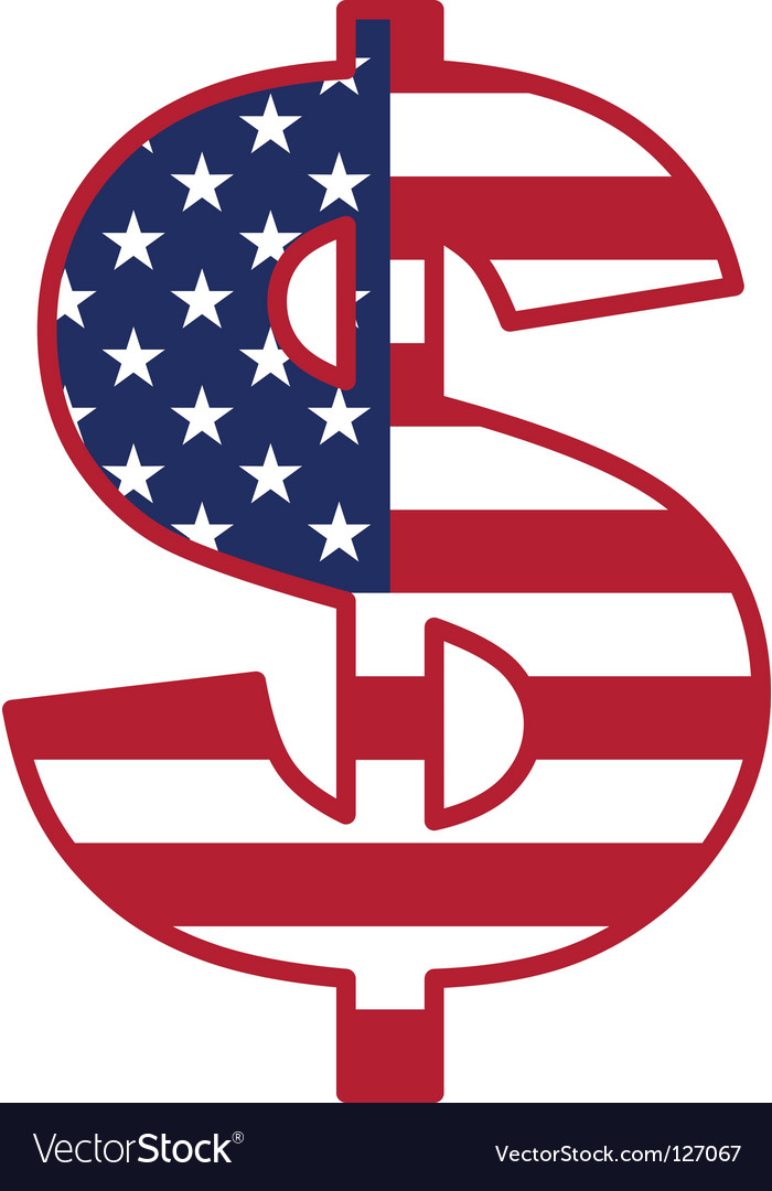 Usa flag inside dollar symbol vector | Price: 1 Credit (USD $1)