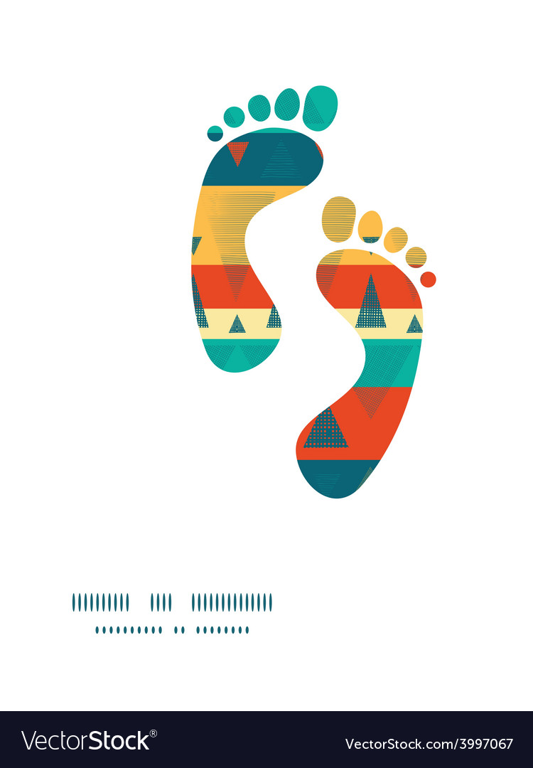 Vibrant ikat stripes footprints silhouettes vector | Price: 1 Credit (USD $1)
