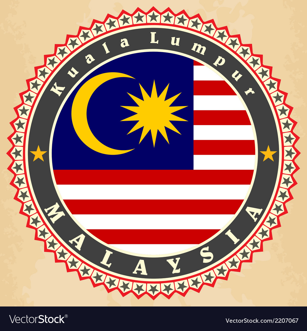 Vintage label cards of malaysia flag vector | Price: 1 Credit (USD $1)