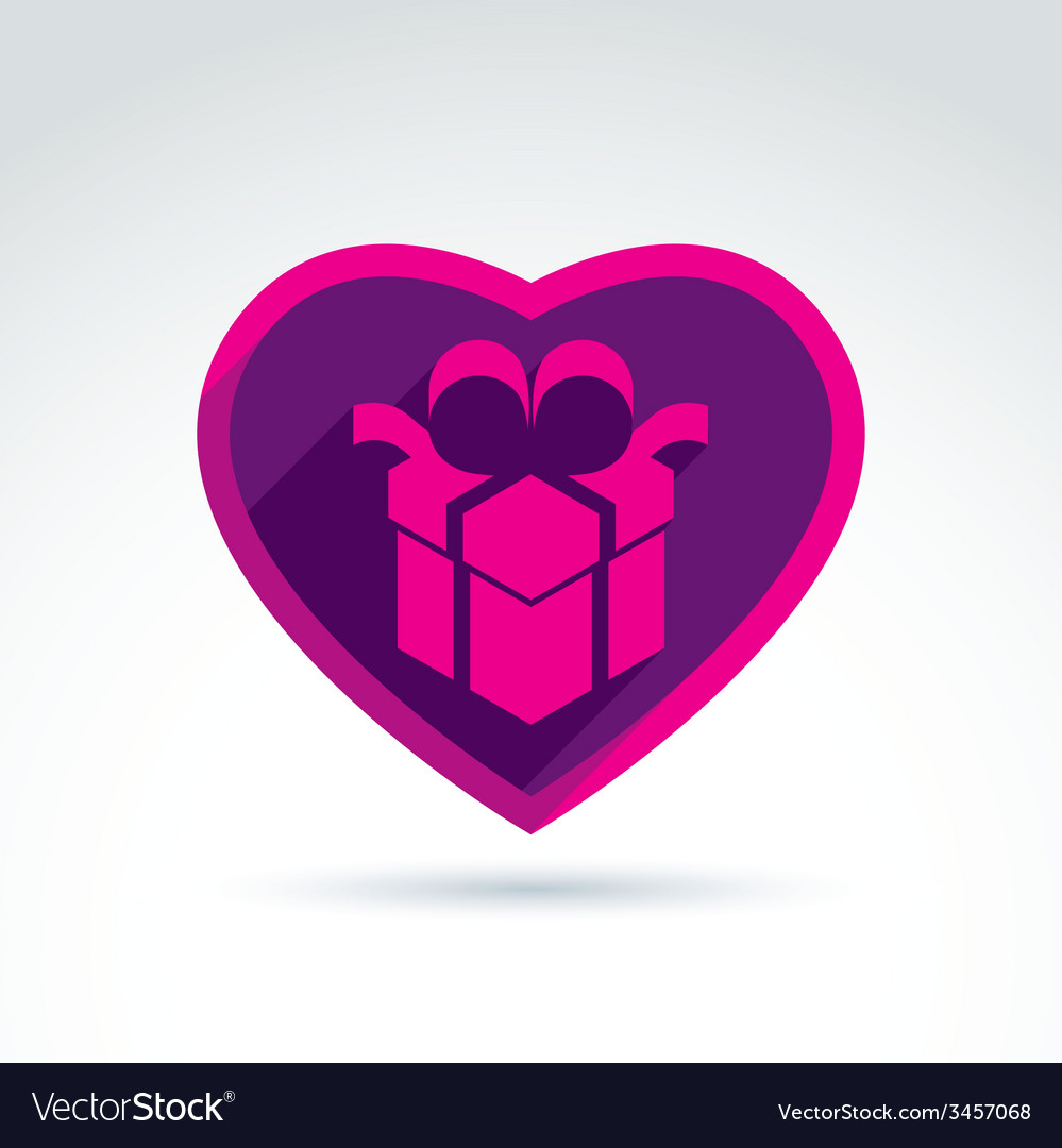 A purple gift box sign placed in a heart vector | Price: 1 Credit (USD $1)