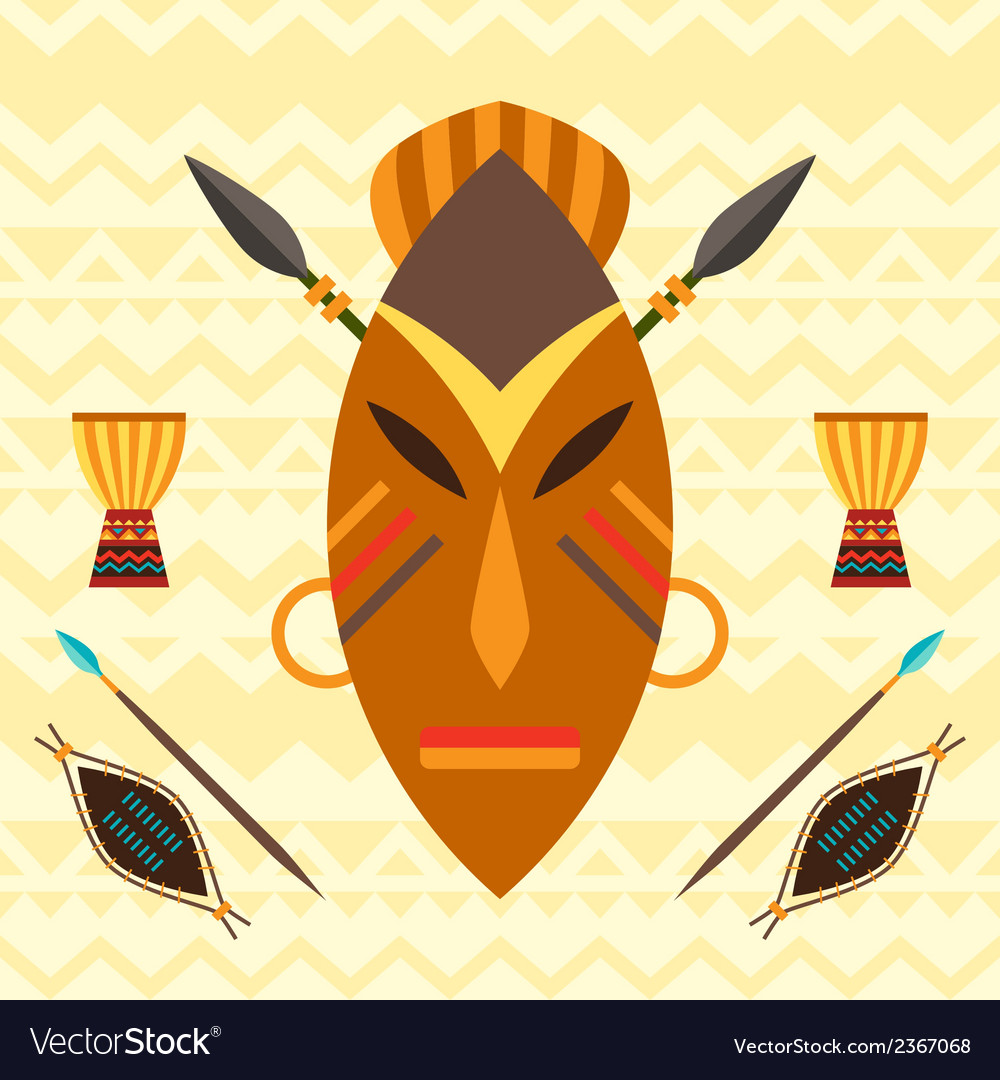 African ethnic background with of mask vector | Price: 1 Credit (USD $1)