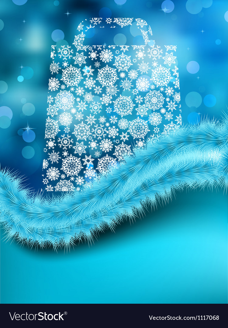 Bag for shopping with snowflakes on blue eps 8 vector | Price: 1 Credit (USD $1)