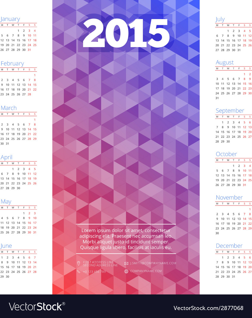 Calendar 2015 template week starts monday vector | Price: 1 Credit (USD $1)