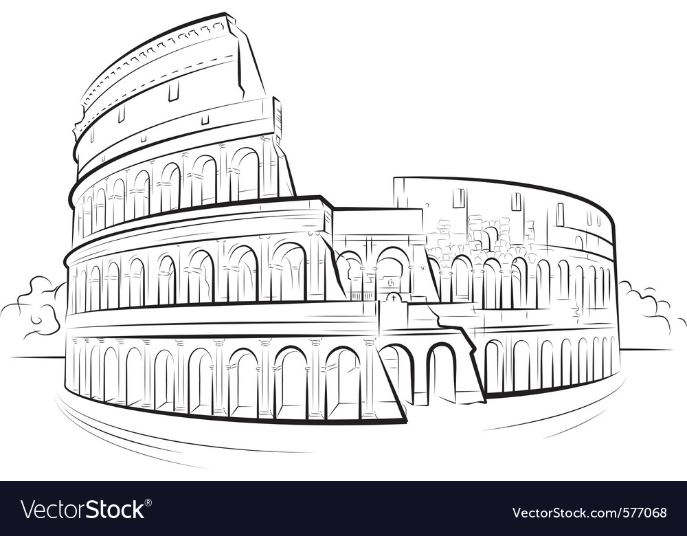 Drawing colosseum vector | Price: 1 Credit (USD $1)