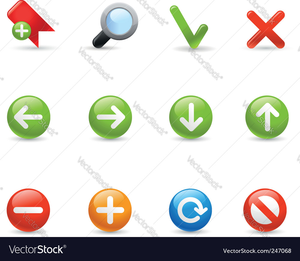 Gel icon set navigation vector | Price: 1 Credit (USD $1)