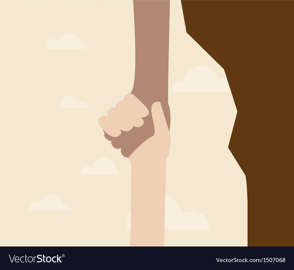 Hand holding another hand from falling vector | Price: 1 Credit (USD $1)