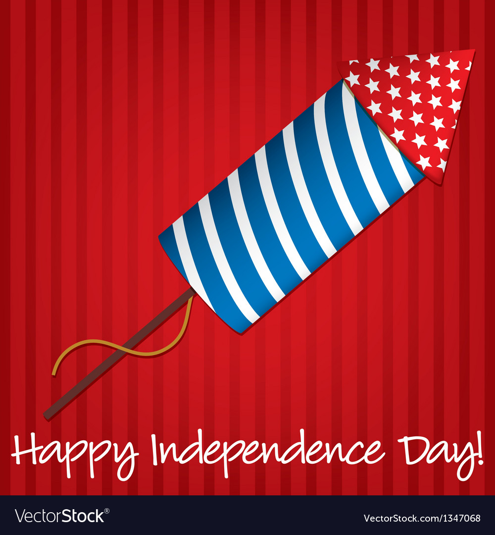 Happy independence day with rocket vector | Price: 1 Credit (USD $1)