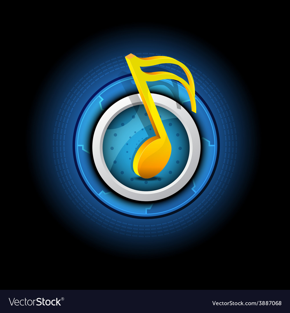 Music symbol with button vector   Price: 1 Credit (USD $1)