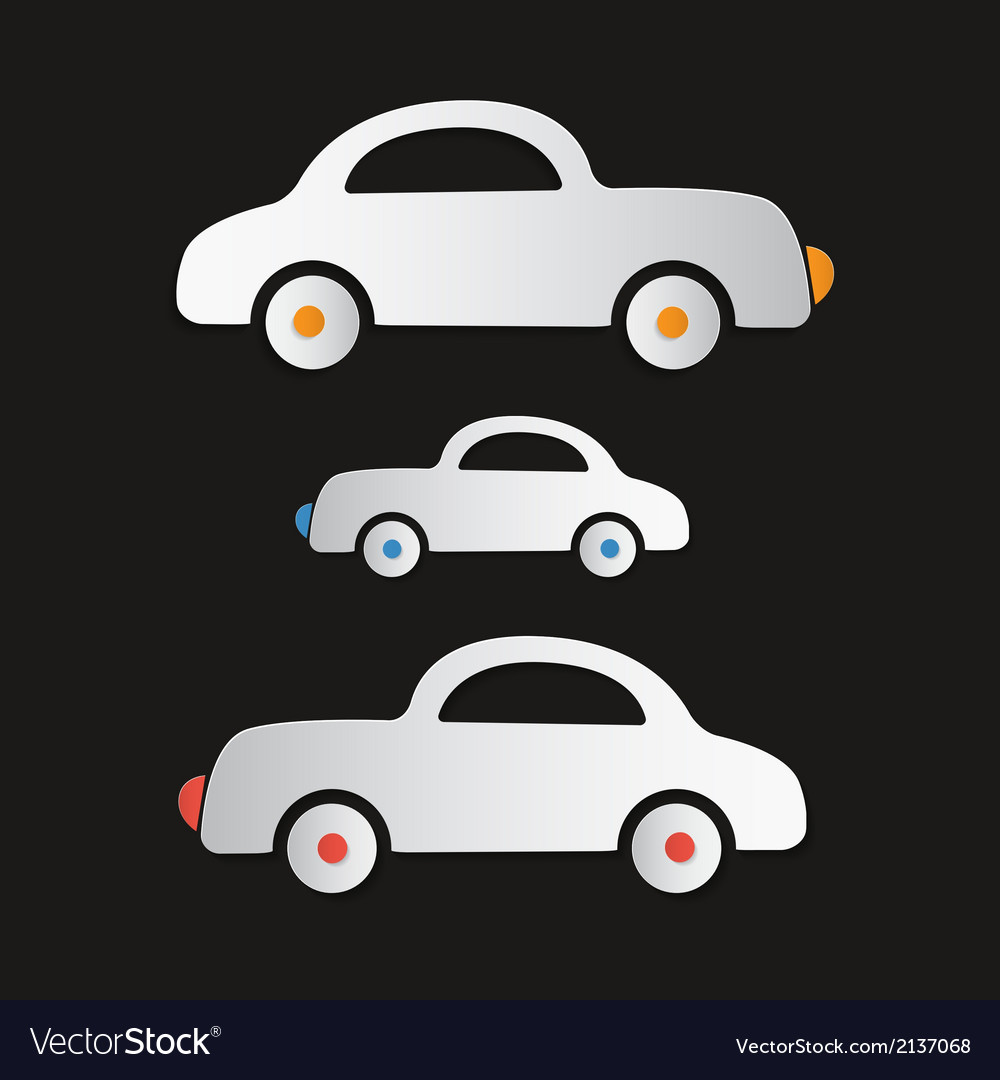 Paper cars on dark background vector | Price: 1 Credit (USD $1)