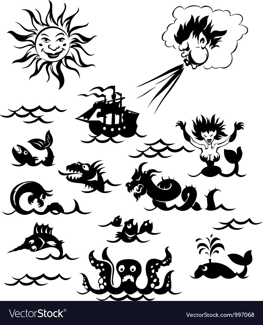 Powerful sea monsters vector | Price: 1 Credit (USD $1)