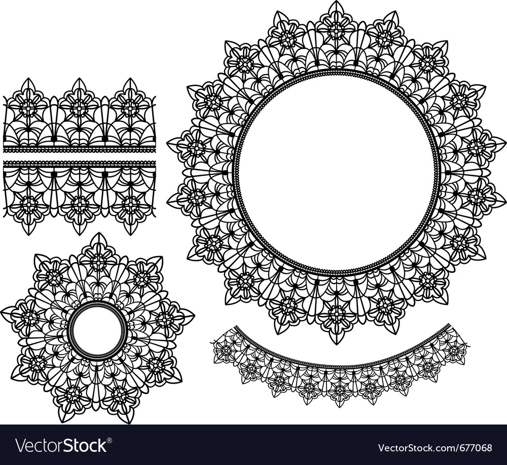 Set of lace elements vector | Price: 1 Credit (USD $1)