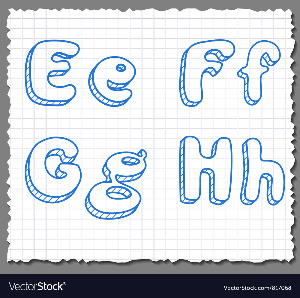 Sketch 3d alphabet letters - efgh vector | Price: 1 Credit (USD $1)